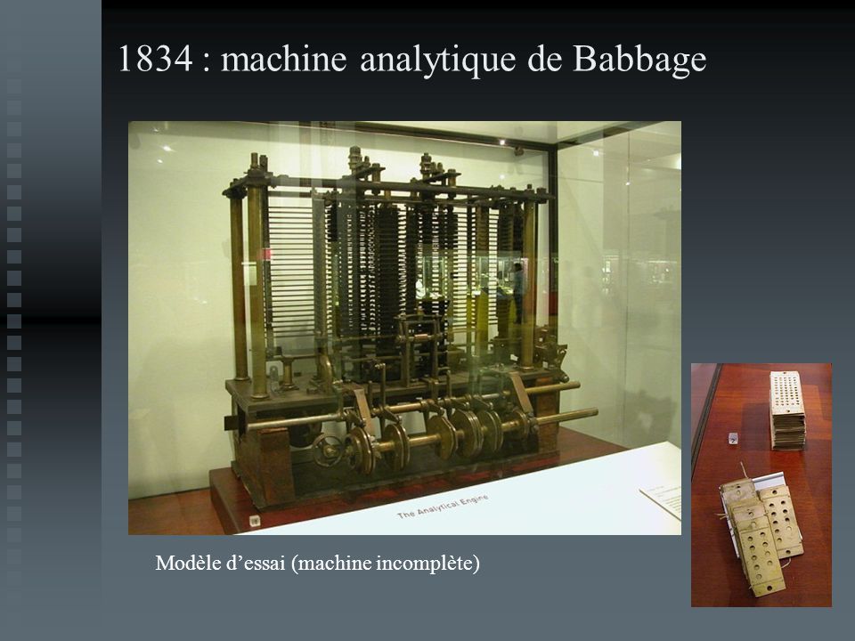 1834 : machine analytique de Babbage