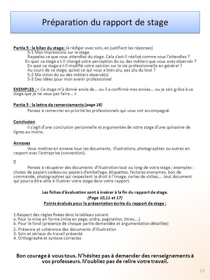 Preparation Du Rapport De Stage