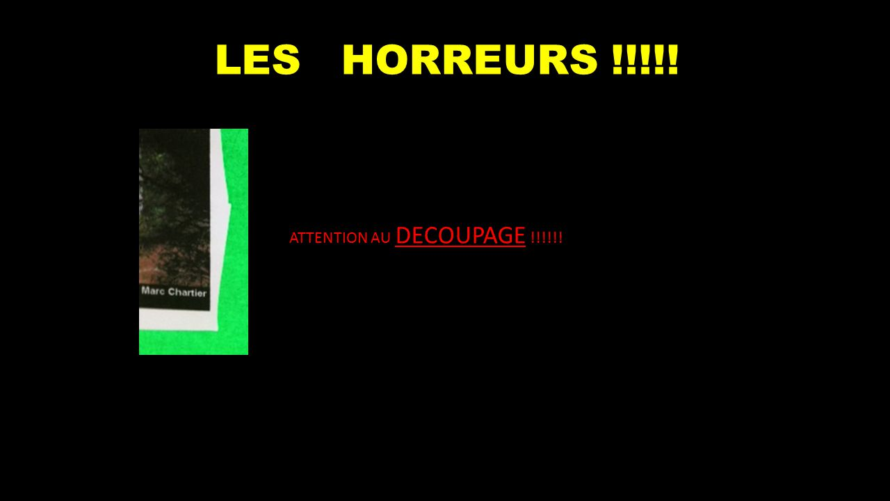 LES HORREURS !!!!! ATTENTION AU DECOUPAGE !!!!!!
