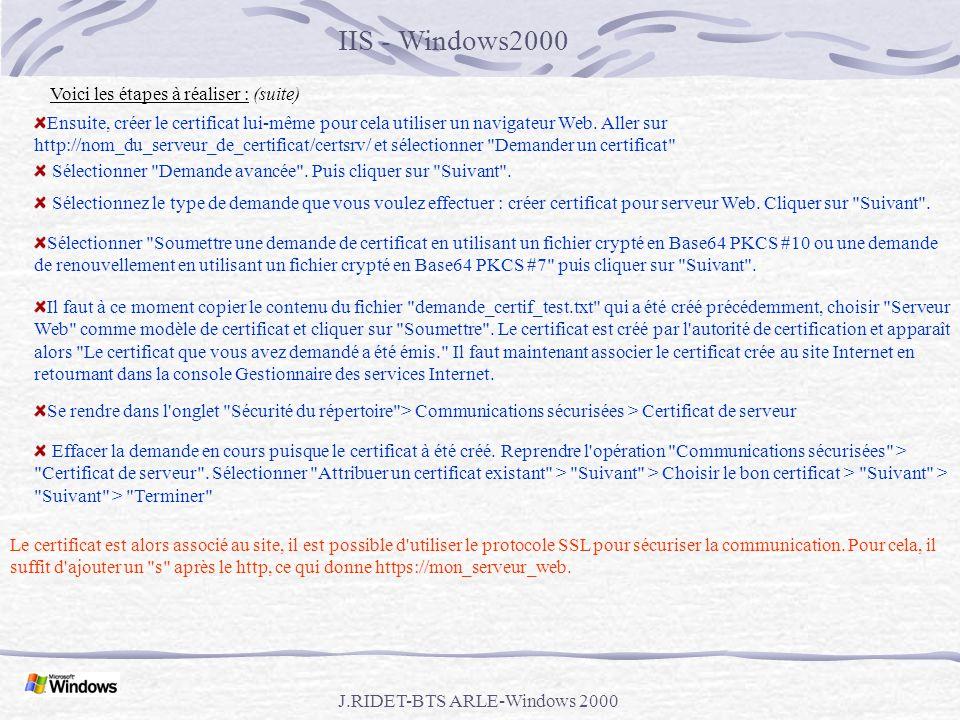 procédure windows pour générer un certificat