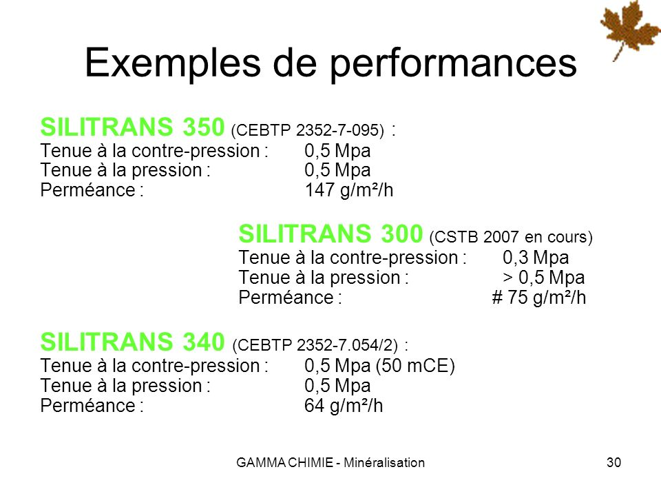 Exemples de performances