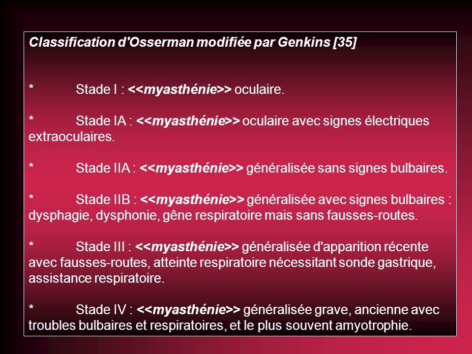 Classification d Osserman modifiée par Genkins [35]