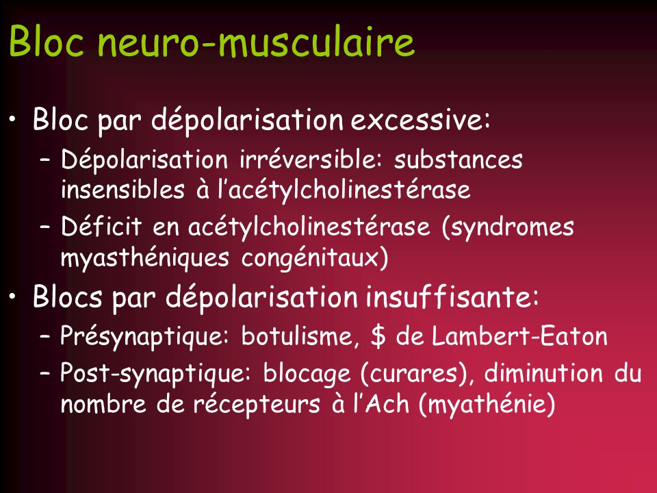 Bloc neuro-musculaire