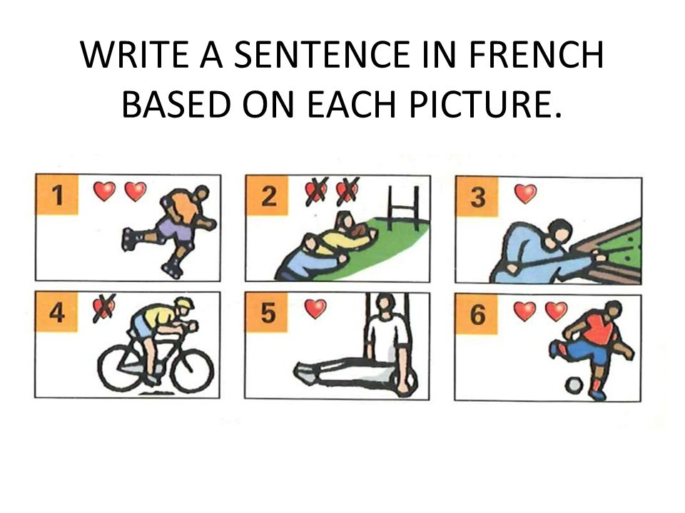 WRITE A SENTENCE IN FRENCH BASED ON EACH PICTURE.