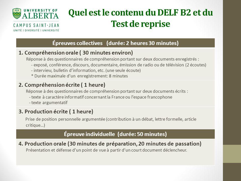 Delf B2 Test De Reprise Tests Pour Admission Aux Stages D