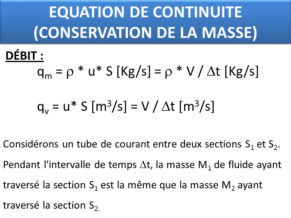 EQUATION DE CONTINUITE (CONSERVATION DE LA MASSE)