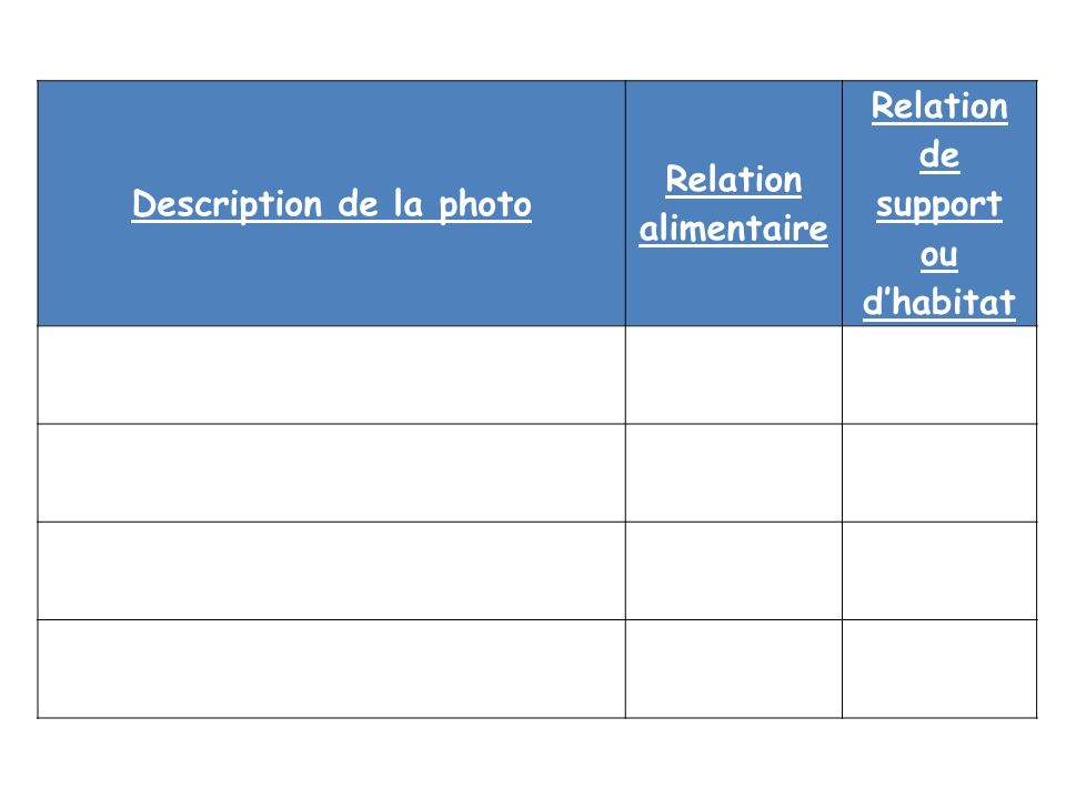 Description de la photo Relation de support ou d'habitat