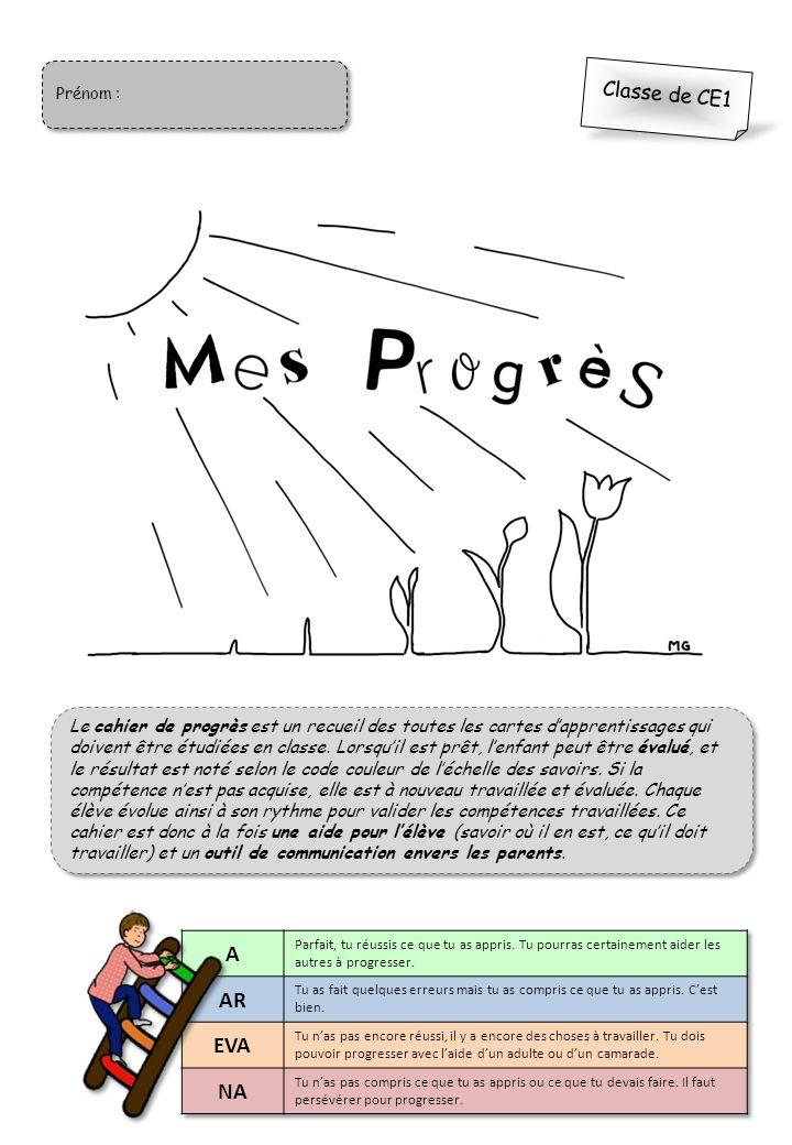 Prénom Classe De Ce1 Le Cahier De Progrès Est Un Recueil Des Toutes Les Cartes Dapprentissages Qui Doivent être étudiées En Classe Lorsquil Est Prêt