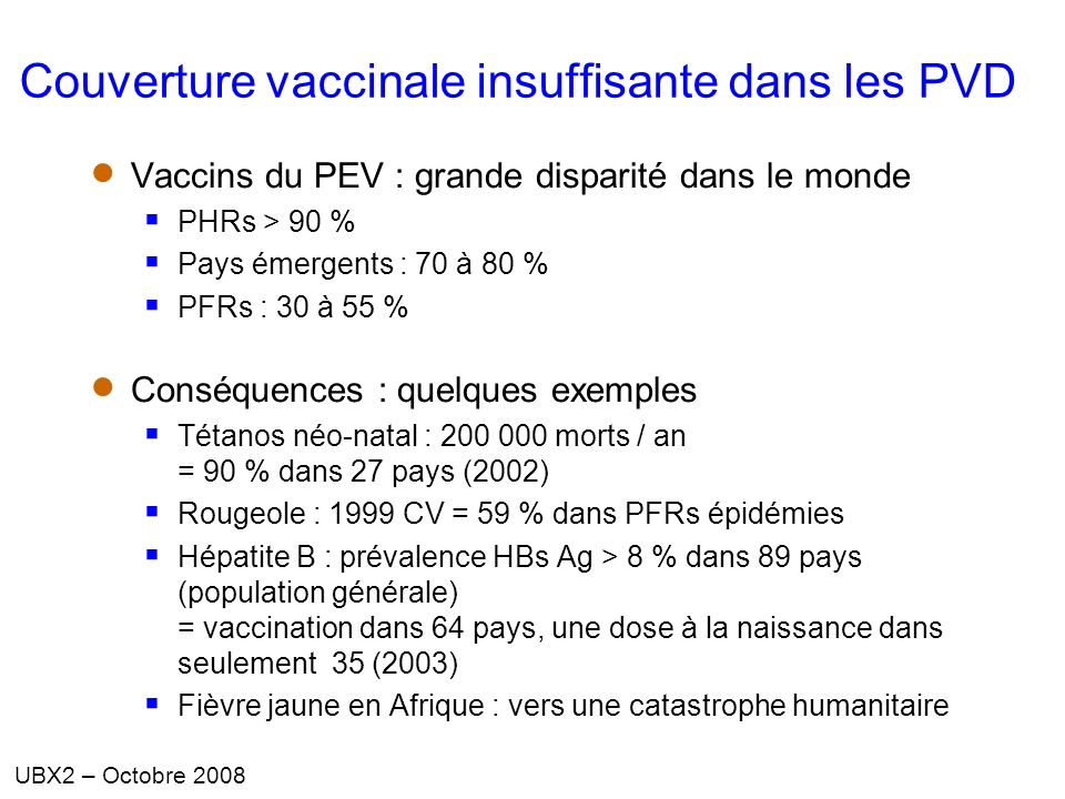 le programme  u00e9largi de vaccination et son  u00e9volution