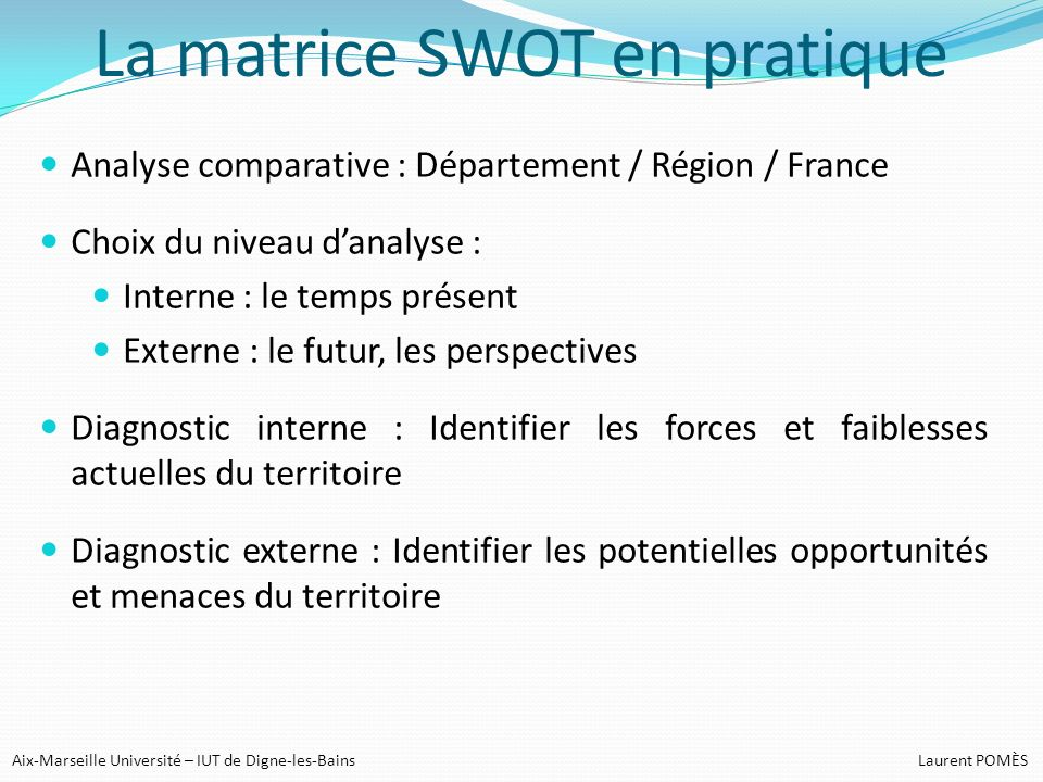 La matrice SWOT en pratique