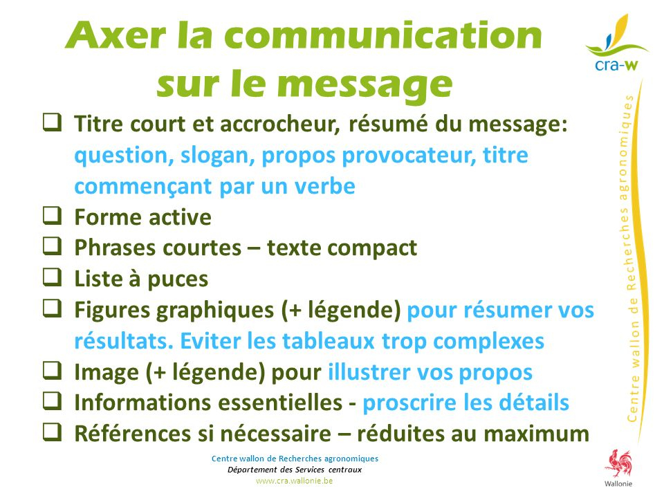 Axer la communication sur le message