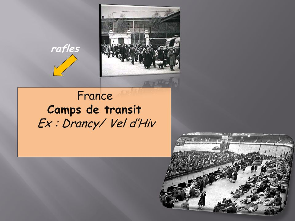 rafles France Camps de transit Ex : Drancy/ Vel d'Hiv