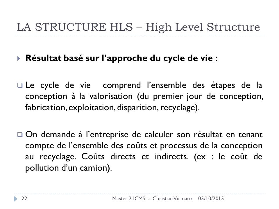 LA STRUCTURE HLS – High Level Structure