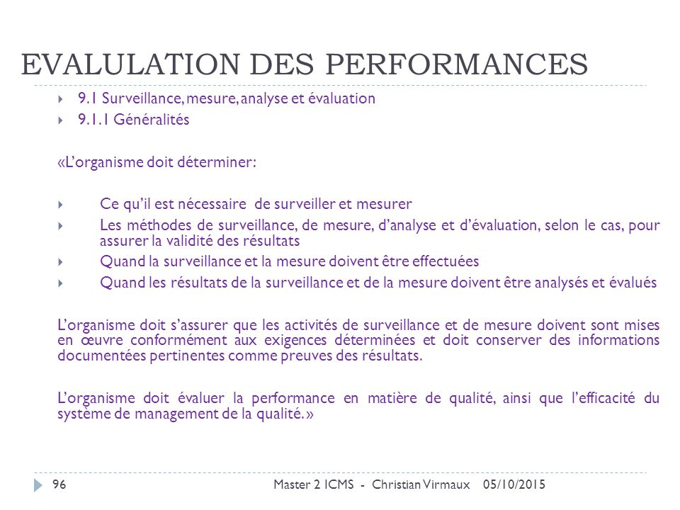 EVALULATION DES PERFORMANCES