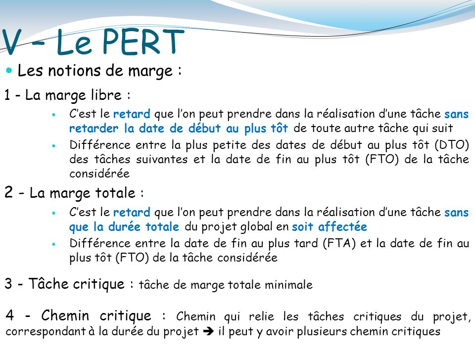 Les concepts de base de la gestion de projet ppt video online v le pert les notions de marge 2 la marge totale ccuart Images