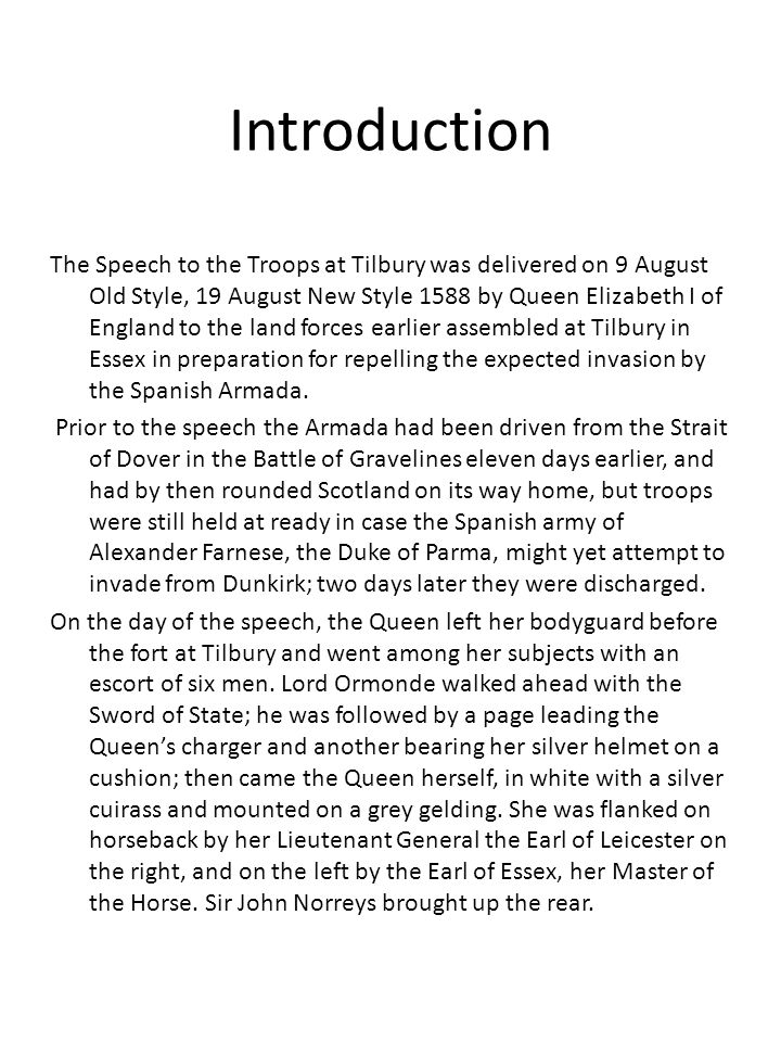 elizabeth 1 speech to the troops at tilbury analysis