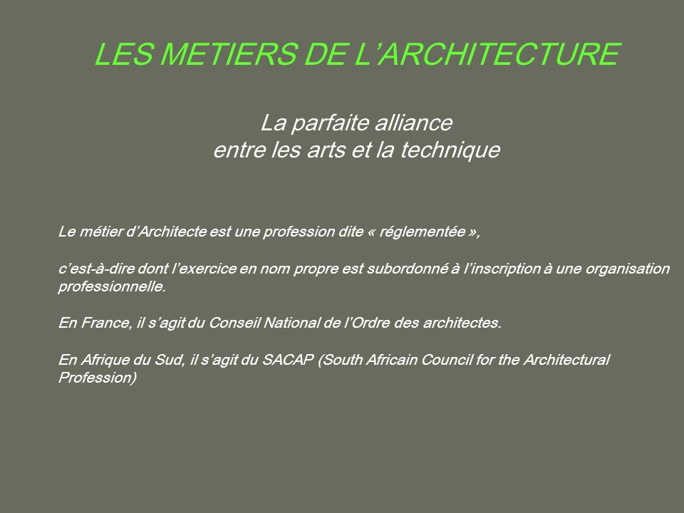 les metiers de l architecture ppt video online t l charger. Black Bedroom Furniture Sets. Home Design Ideas