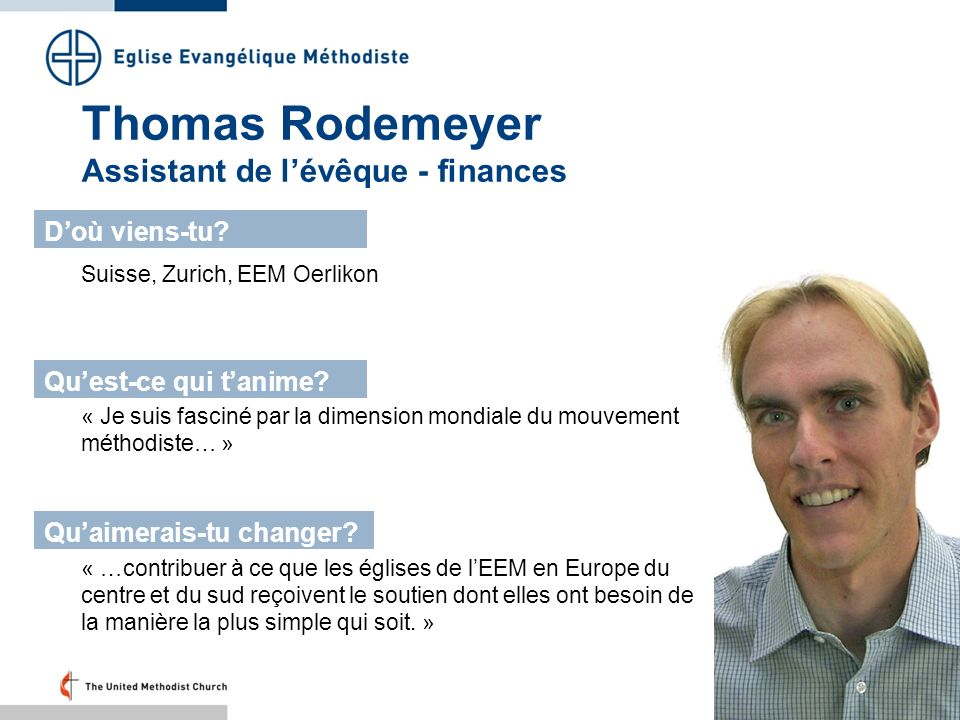 Thomas Rodemeyer Assistant de l'évêque - finances