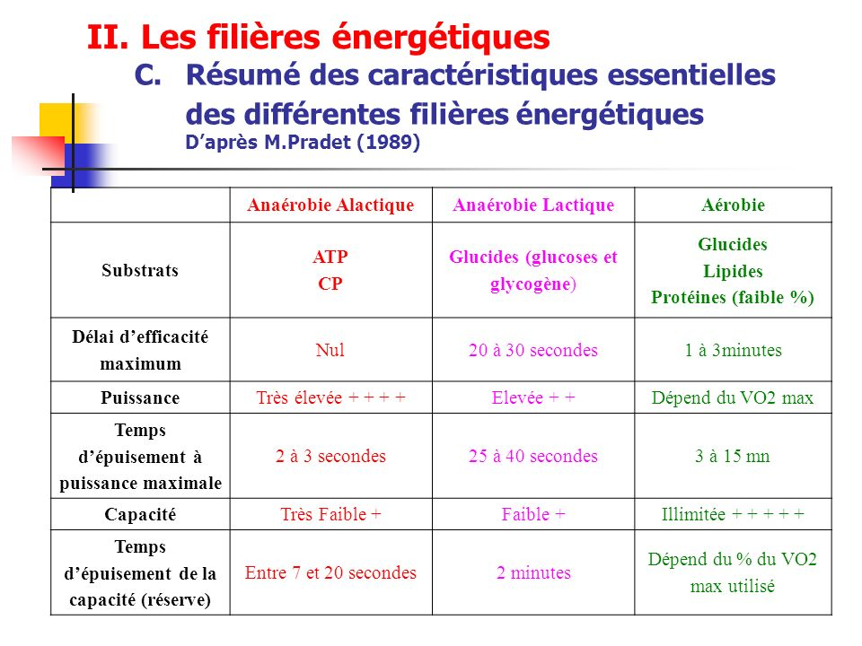 course a pied filiere energetique