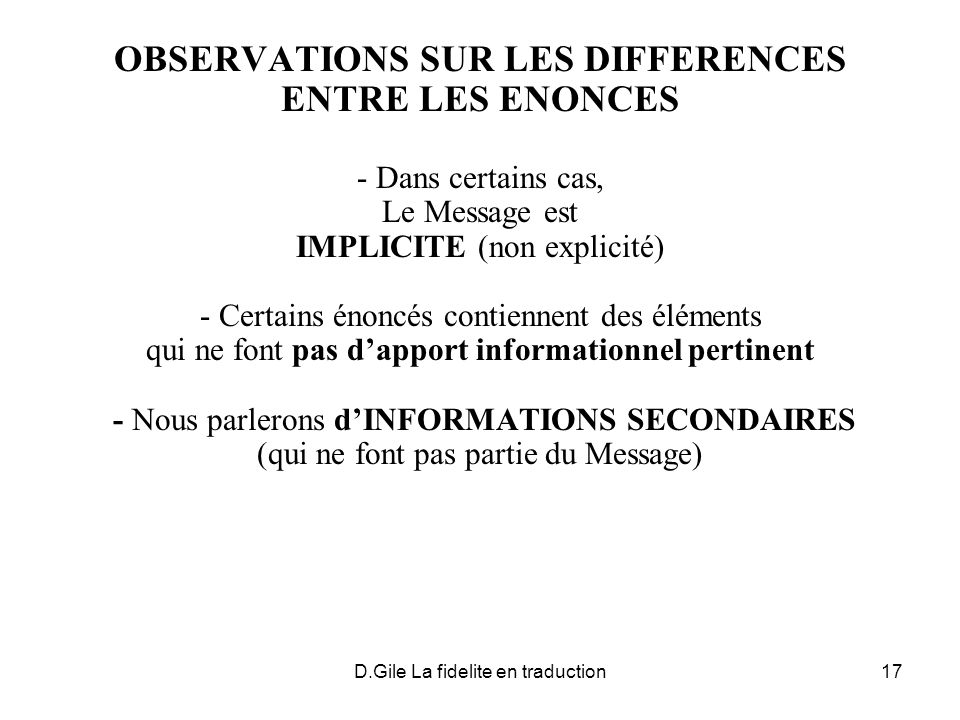 OBSERVATIONS SUR LES DIFFERENCES