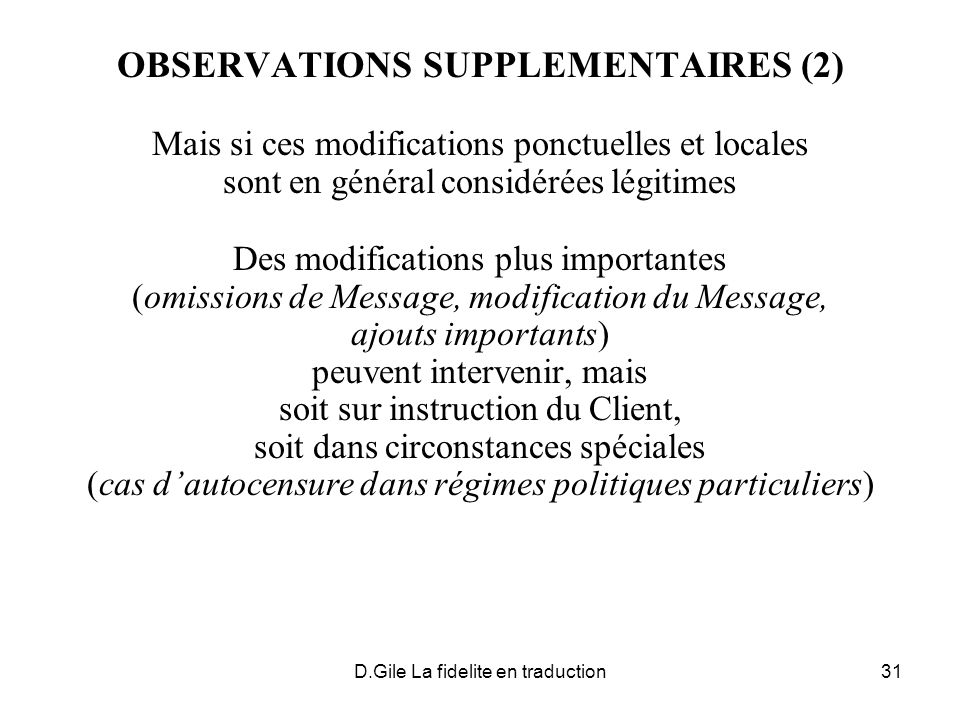 OBSERVATIONS SUPPLEMENTAIRES (2)