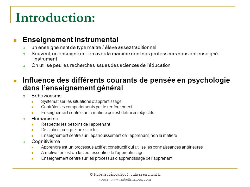Introduction: Enseignement instrumental