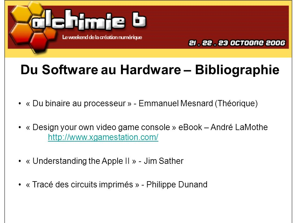 Du Software au Hardware – Bibliographie