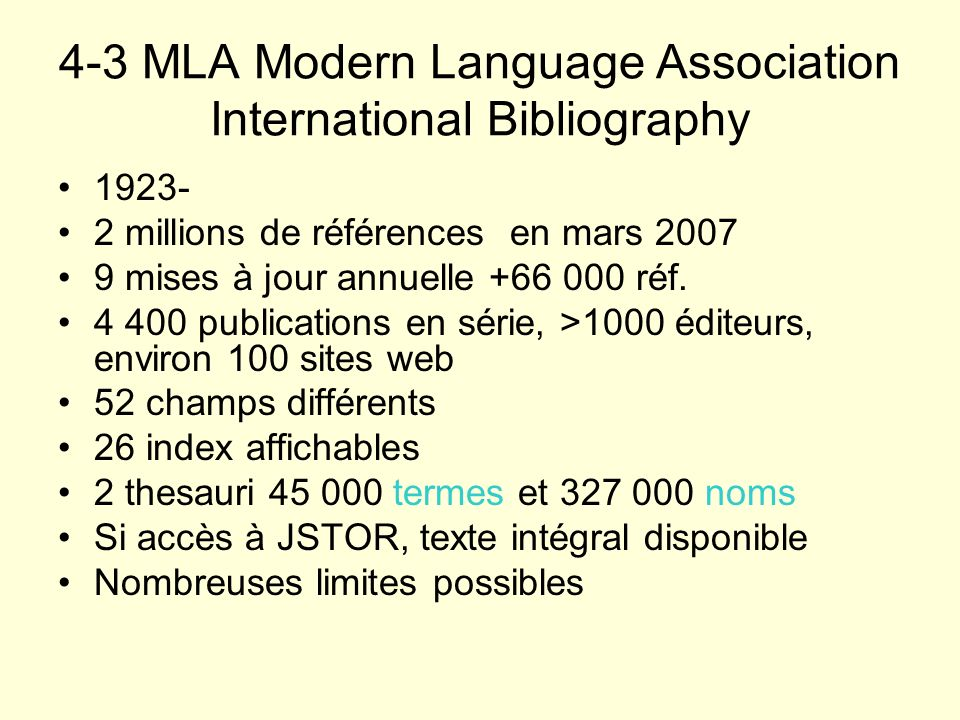4-3 MLA Modern Language Association International Bibliography