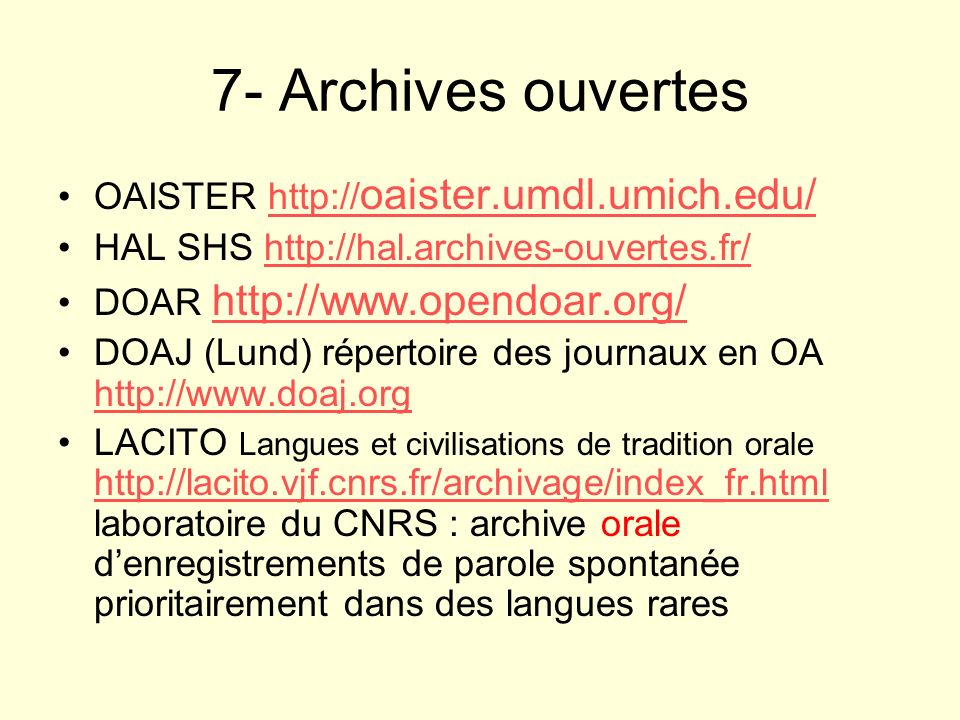 7- Archives ouvertes OAISTER