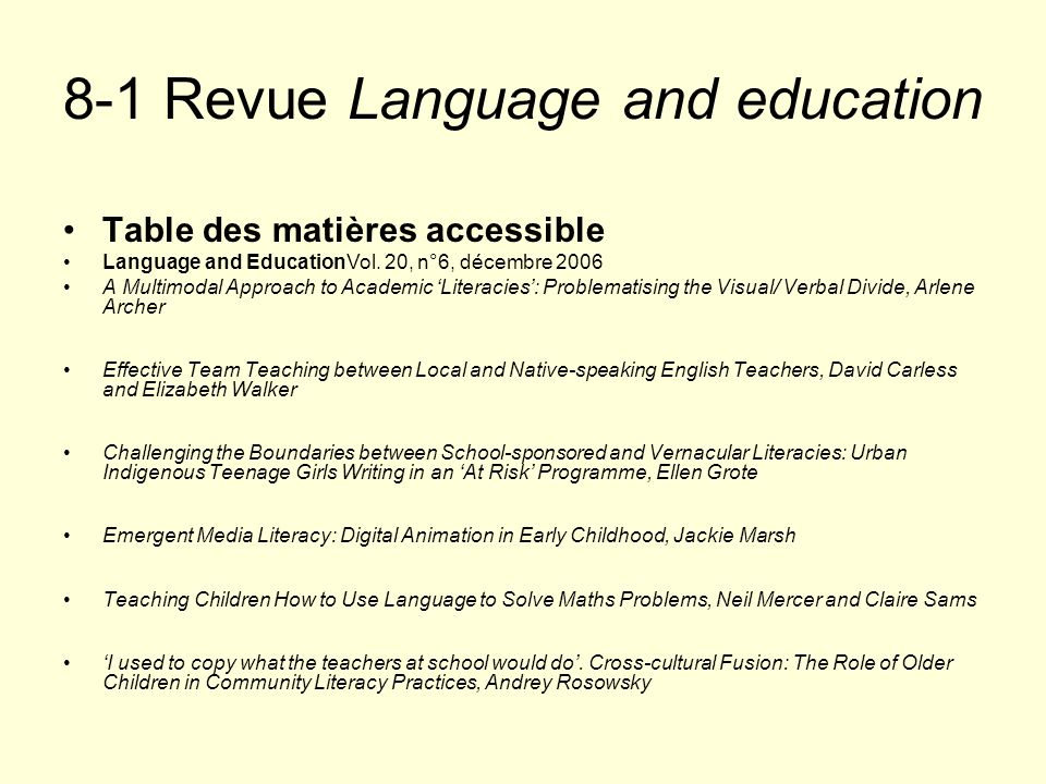 8-1 Revue Language and education