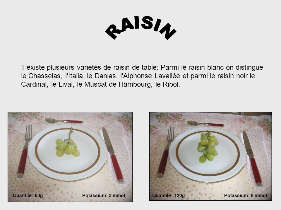 RAISIN Il existe plusieurs variétés de raisin de table: Parmi le raisin blanc on distingue.