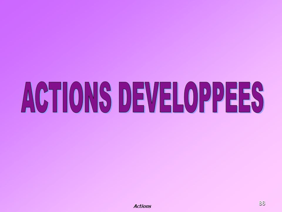 ACTIONS DEVELOPPEES Actions