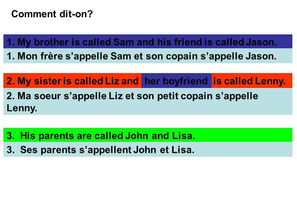 Comment dit-on 1. My brother is called Sam and his friend is called Jason. 1. Mon frère s'appelle Sam et son copain s'appelle Jason.