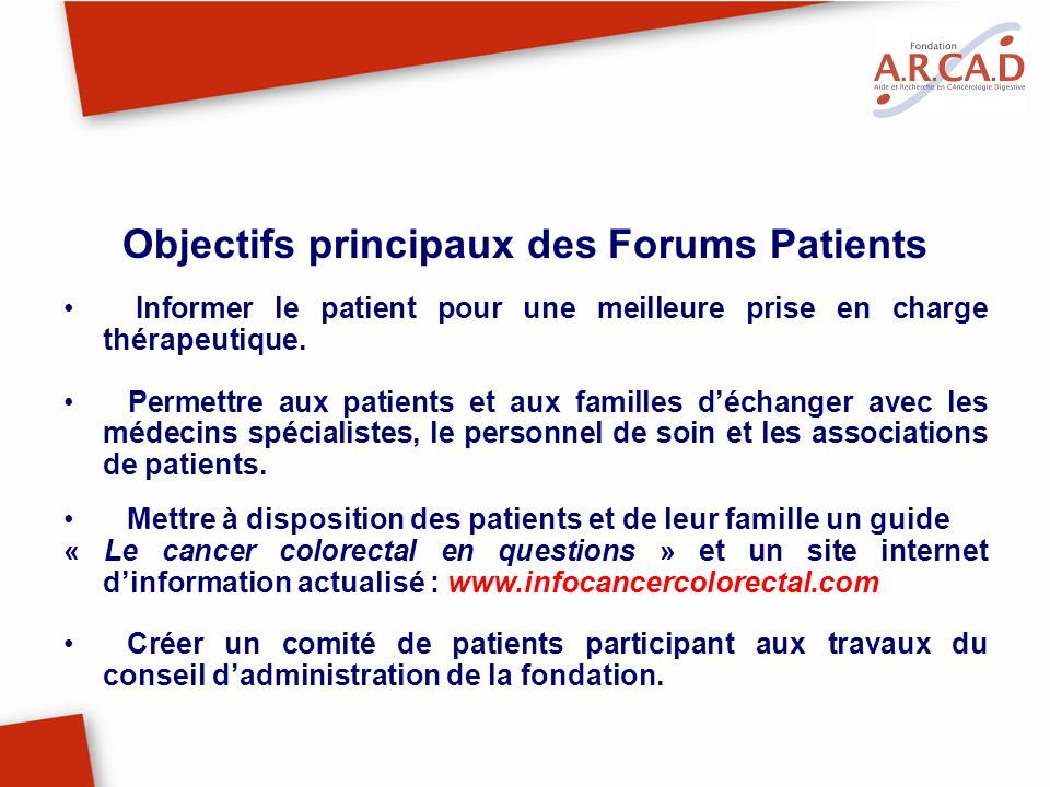 Objectifs principaux des Forums Patients
