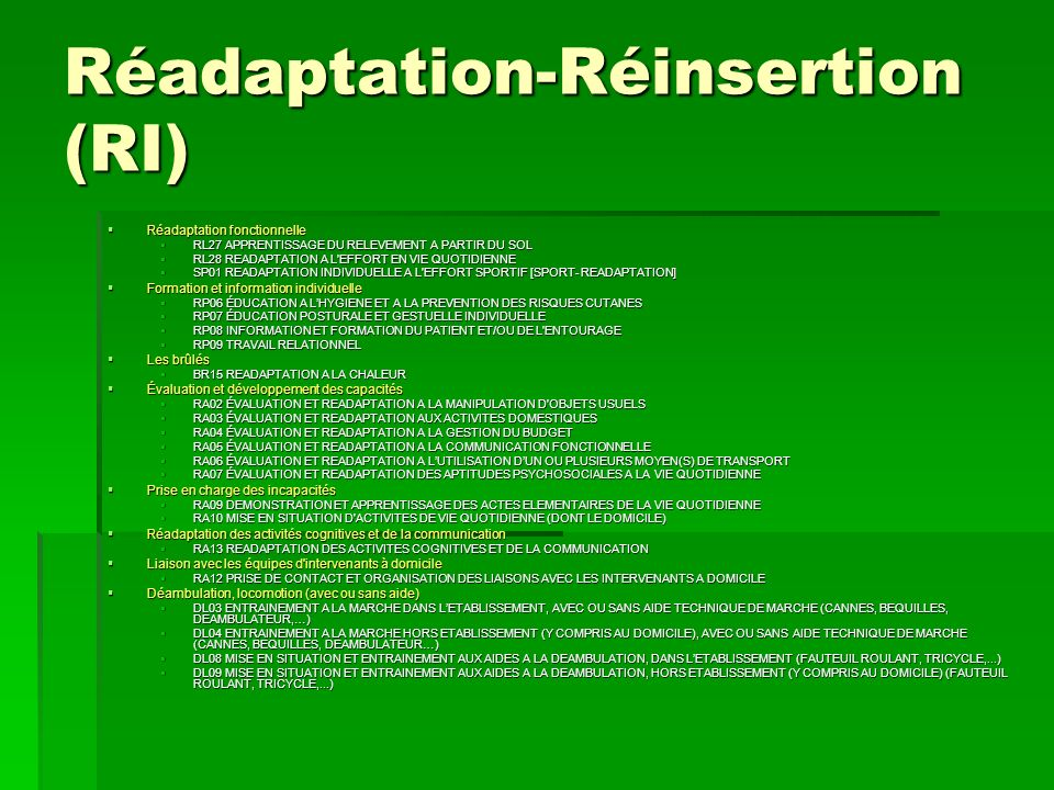 Réadaptation-Réinsertion (RI)