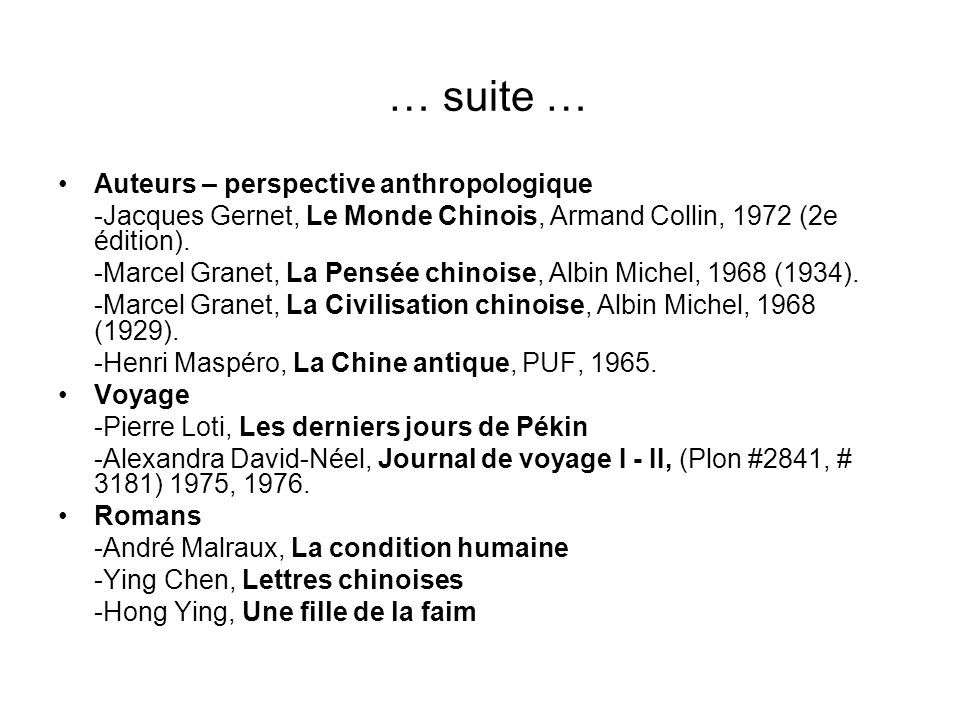 … suite … Auteurs – perspective anthropologique