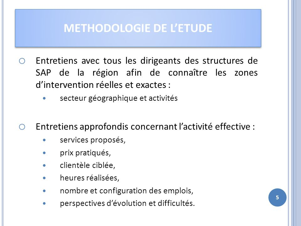METHODOLOGIE DE L'ETUDE