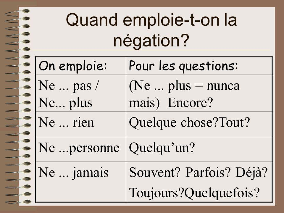 Quand emploie-t-on la négation