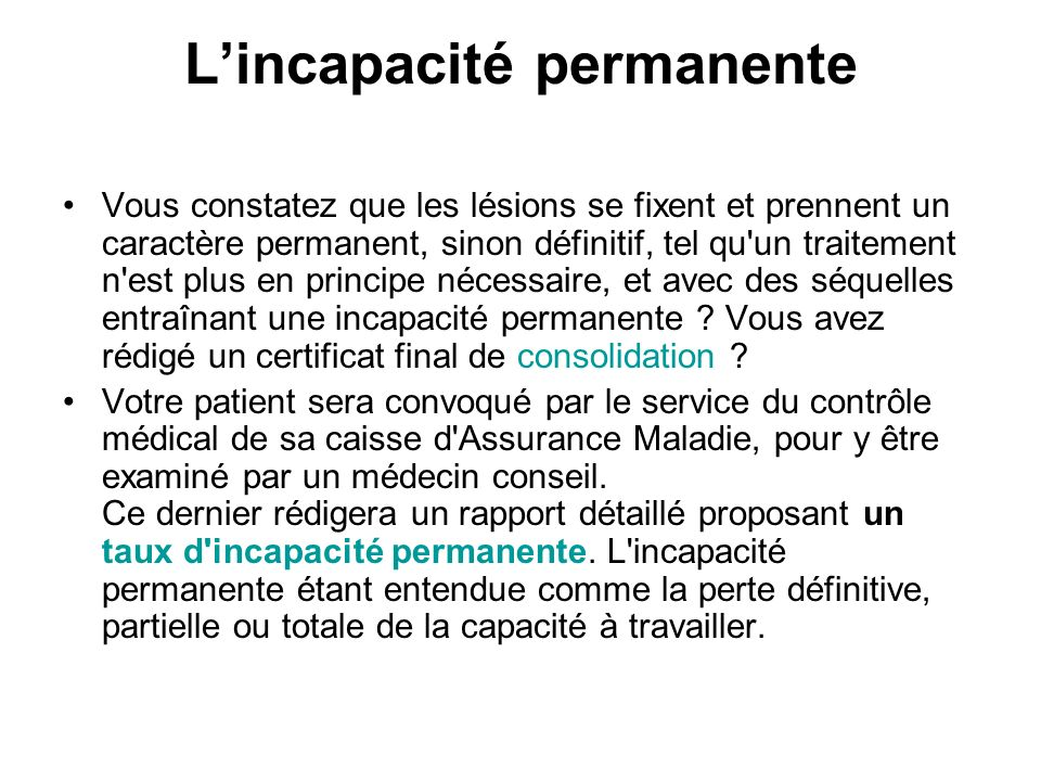 L'incapacité permanente
