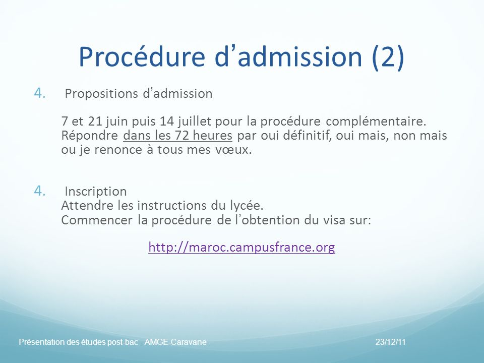 Procédure d'admission (2)