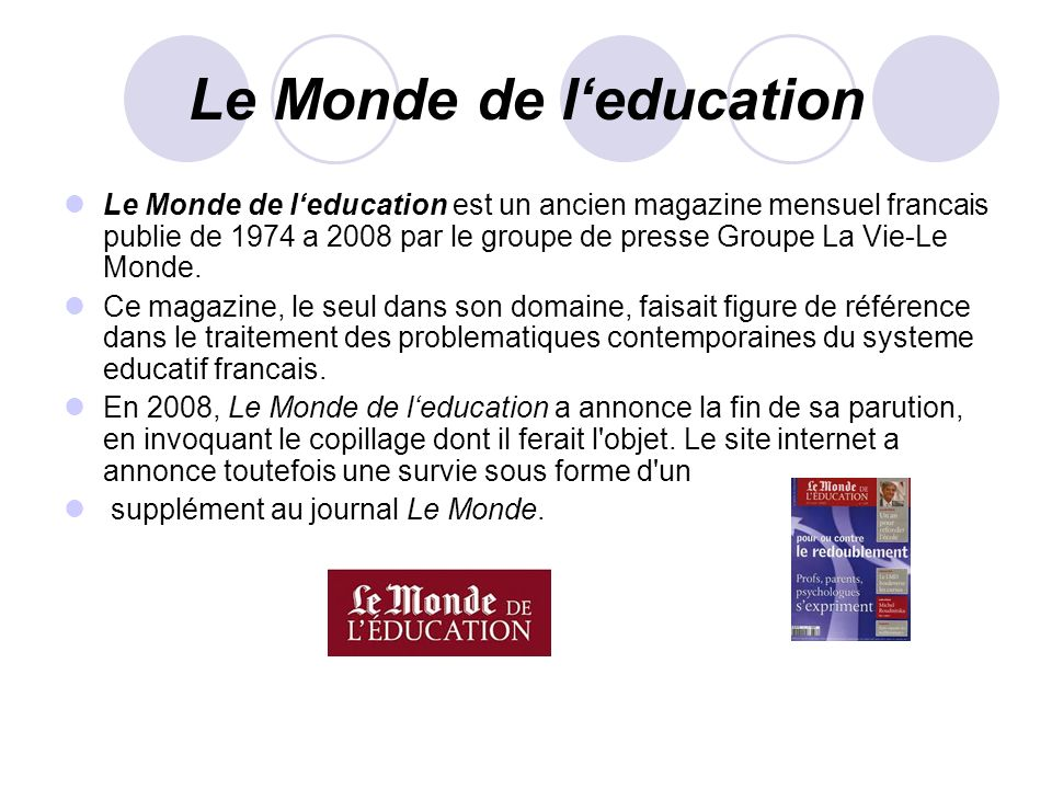 Le Monde de l'education