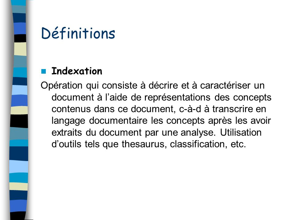 Définitions Indexation