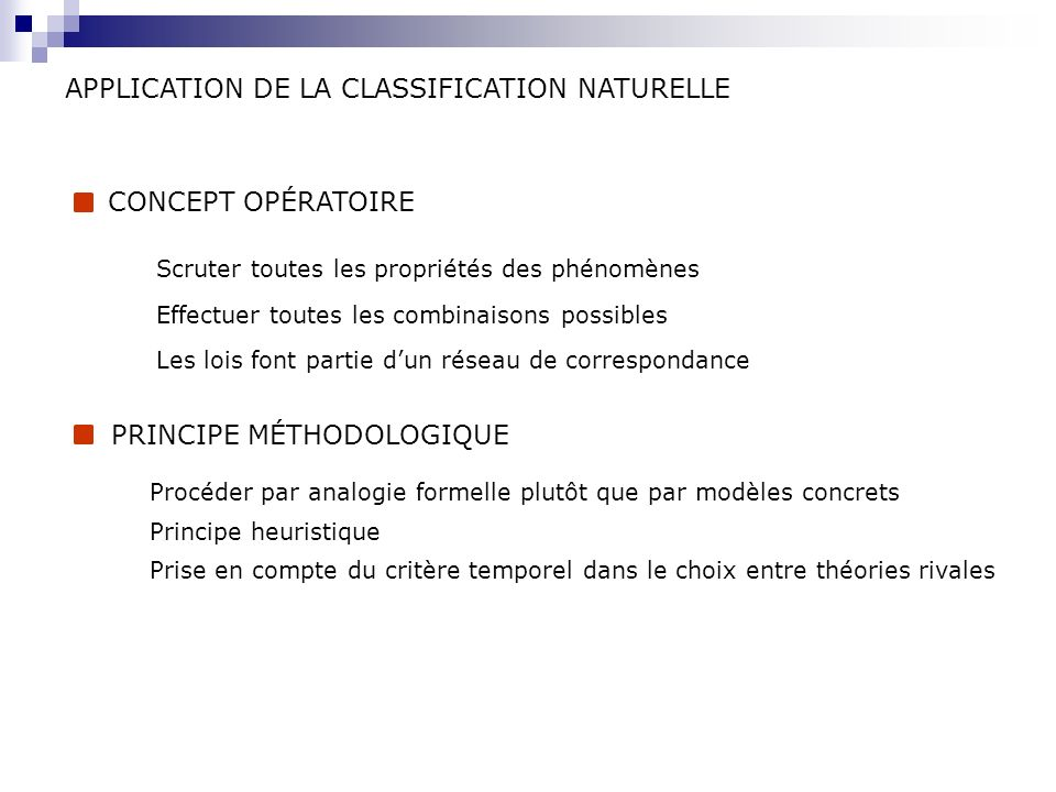 APPLICATION DE LA CLASSIFICATION NATURELLE