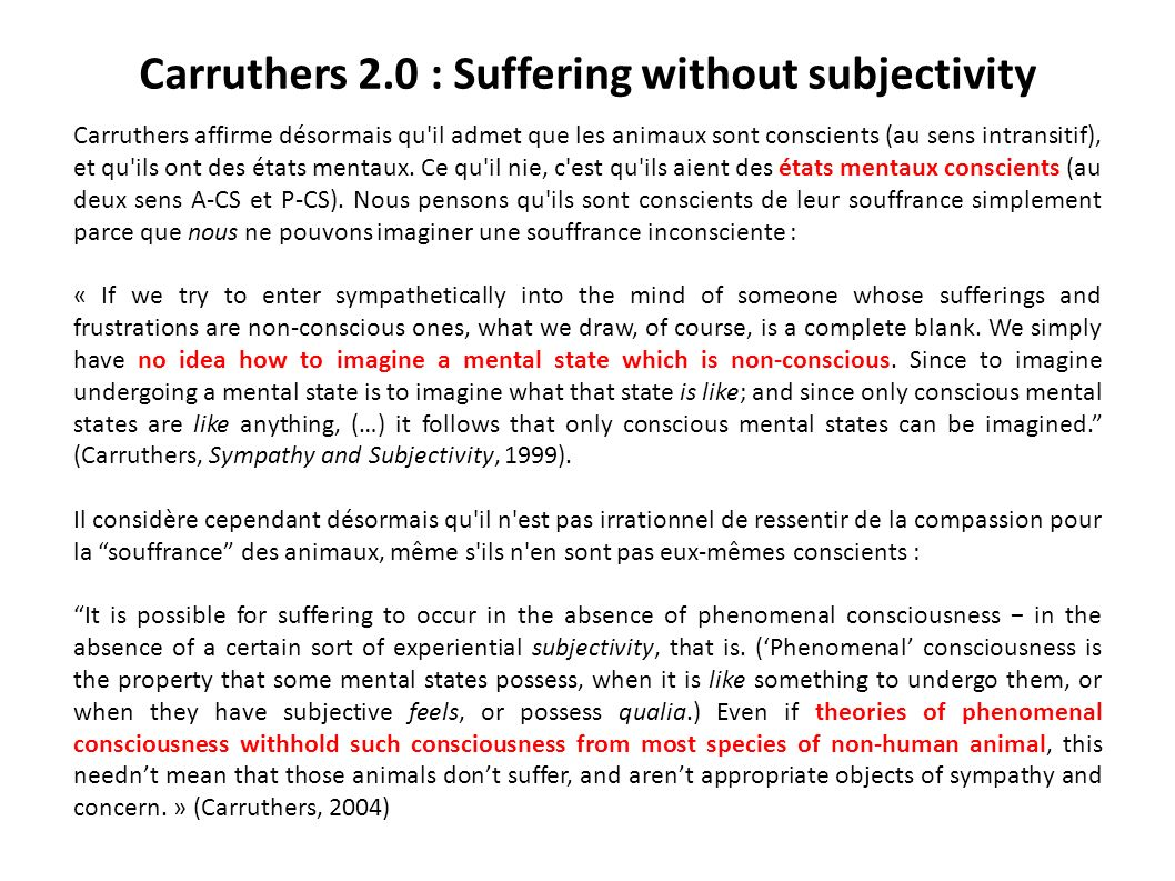 Carruthers 2.0 : Suffering without subjectivity