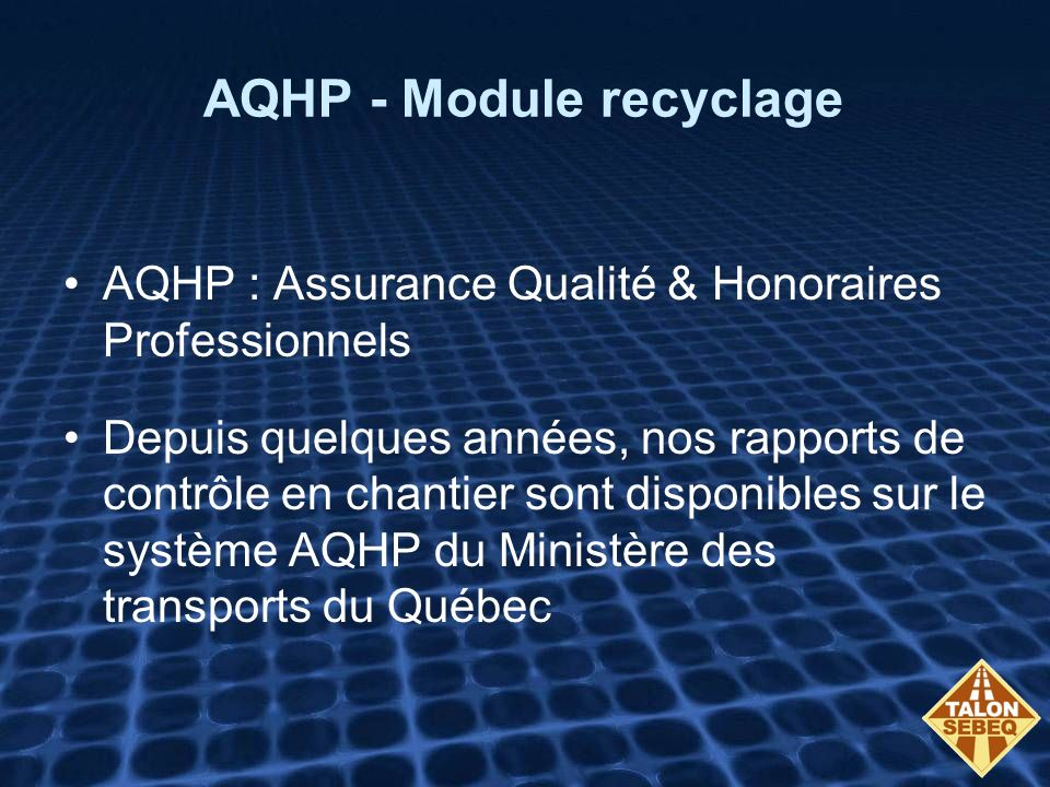 AQHP - Module recyclage