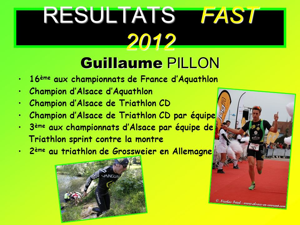 RESULTATS FAST 2012 Guillaume PILLON