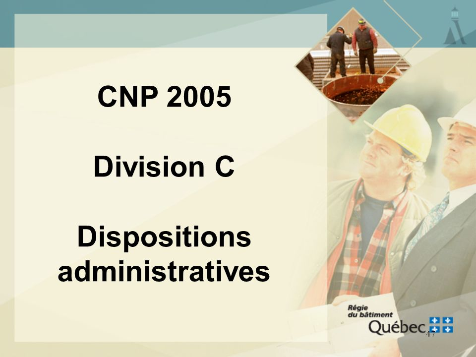 CNP 2005 Division C Dispositions administratives