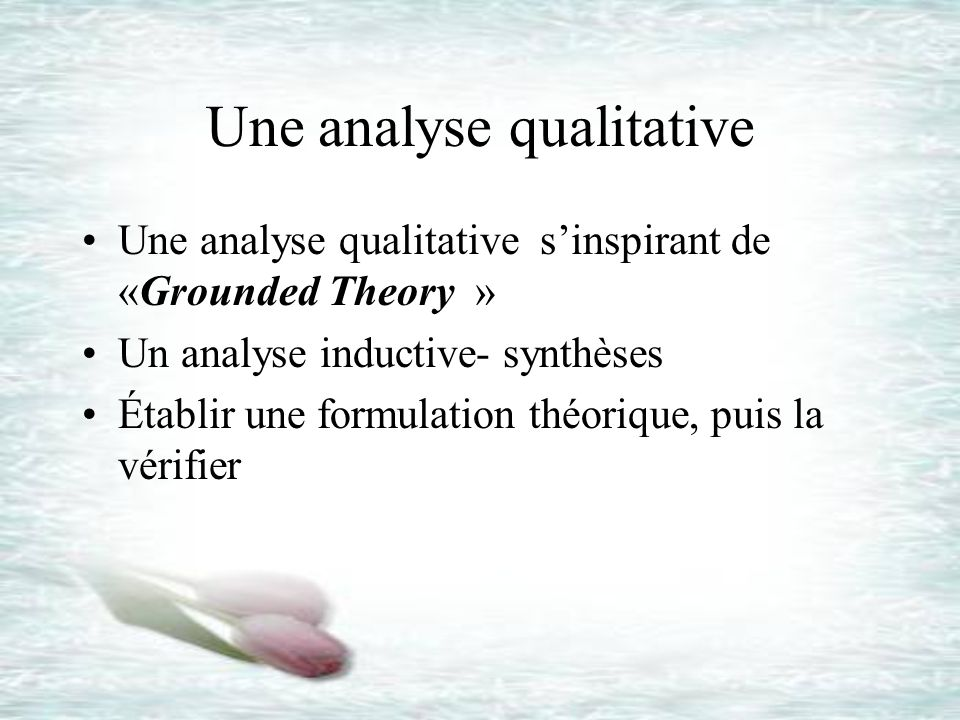 Une analyse qualitative