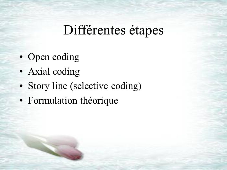Différentes étapes Open coding Axial coding