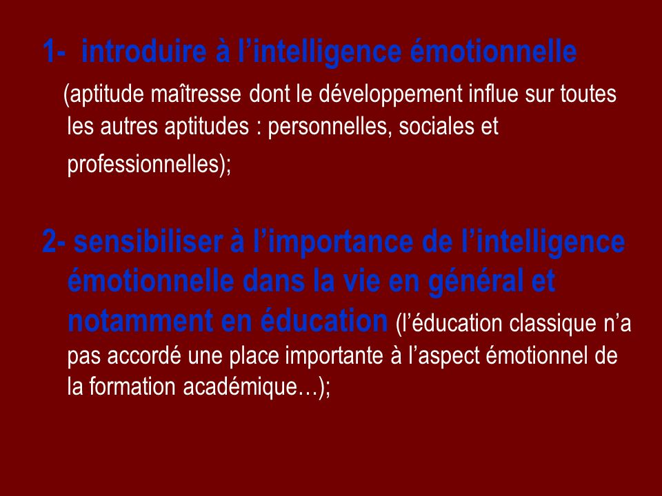 1- introduire à l'intelligence émotionnelle